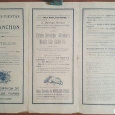 Coleccionismo de carteles: CARTEL DE TOROS TRIPTICO DE MANO FIESTAS EN MARANCHON (GUADALAJARA) AÑO 1915. Lote 254400305