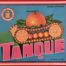 Colecionismo de cartazes: CARTEL ITO ETIQUETA NARANJAS TANQUE J. PARRA VILLARREAL CASTELLON ORIGINAL K1. Lote 292020538