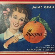 Coleccionismo de carteles: CARTEL ITO ETIQUETA NARANJAS MAGNA JAIME GRAU CHICA CARCAGENTE VALENCIA ORIGINAL K2. Lote 255510745