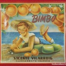 Coleccionismo de carteles: CARTEL ITO ETIQUETA NARANJAS BIMBO CON MARGEN VICENTE VILARROIG CARCAGENTE VALENCIA ORIGINAL K2. Lote 255514080