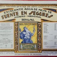 Coleccionismo de carteles: CARTEL ITO ETIQUETA PUBLICIDAD AGUAS DE BENASAL FUENTE EN SEGURES CASTELLON ORIGINAL K2. Lote 255516695