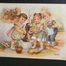 Collezionismo di affissi: LAMINA IMAGEN DE NIÑOS LAVANDO A UN PERRO. DIBUJO INFANTIL DE GIRONA. Lote 257303265
