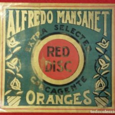 Collectionnisme d'affiches: CARTEL ITO ETIQUETA NARANJAS RED DISC GRANDE ALFREDO MANSANET CARCAGENTE VALENCIA ORIGINAL K7. Lote 257393975