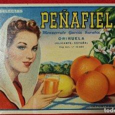 Colecionismo de cartazes: CARTEL ITO ETIQUETA NARANJAS PEÑAFIEL MONSERRATE GARCIA MUJER ALICANTE ORIGINAL K8. Lote 269084213