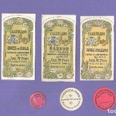 Coleccionismo de carteles: CONJUNTO DE 8 ETIQUETAS DIFERENTES: FARMACIA Y LABORATORIO QUÍMICO-JOSÉ Mª PONS(BARCELONA). Lote 257740220