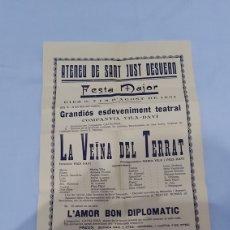 Collectionnisme d'affiches: ATENEU SANT JUST DESVERN. FESTA MAJOR 1931. TEATRO COMPANYA VILA DAVÍ. Lote 260527195