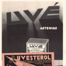 Coleccionismo de carteles: PUBLICIDAD FARMACEUTICA - GOTAS UVÉ - UVESTEROL - LABORATORIOS UVÉ - MADRID - FARMACIA. Lote 262371225