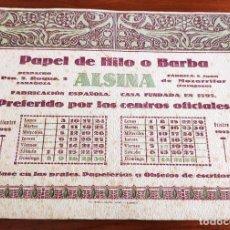 Coleccionismo de carteles: CARTEL PUBLICITARIO PAPEL DE HILO O BARBA ALSINA. ZARAGOZA, 1923.. Lote 263188325