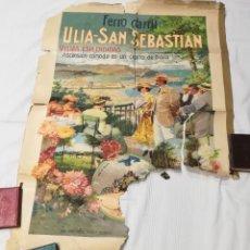 Coleccionismo de carteles: CARTEL FERROCARRIL DE ULÍA DE SAN SEBASTIÁN, INICIOS SIGLO XX, IMPRESO POR ORELL FUSSLI. Lote 263793305