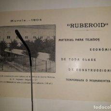 Coleccionismo de carteles: PUBLICIDAD FOLLETO CUBIERTA RUBEROID FOTO 1900 MURCIA PASAJE FÁBRICA ASERRAR MADERA ALEJANDRO DELGAD. Lote 264792289