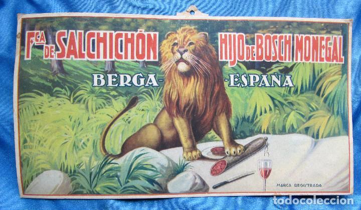 CARTEL ANUNCIO DE LA FÁBRICA DE SALCHICHÓN HIJO DE BOSCH MONEGAL. BERGA, BARCELONA, S/F. (Coleccionismo - Carteles Pequeño Formato)