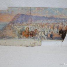 Coleccionismo de carteles: FRANCISCO RAFAEL SEGURA Y MONFORTE (1875 - 1954) OLEO SOBE TELA. VISTA CON CARRUAJE. Lote 267195789