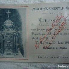 Coleccionismo de carteles: 1916 TARJETA VALE BALTASAR PARDAL VIDAL EL CAPELLÁN DE ATOCHA LA CORUÑA IMPRIME ROEL CORUÑA 23 DE JU. Lote 268415344