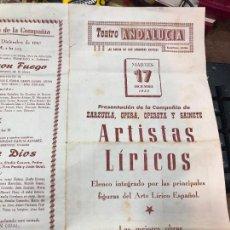 Coleccionismo de carteles: CARTEL TEATRO ANDALUCIA DE CADIZ AÑO 1957 - ARTISTAS LIRICOS - MEDIDA 43X32 CM. Lote 268438019