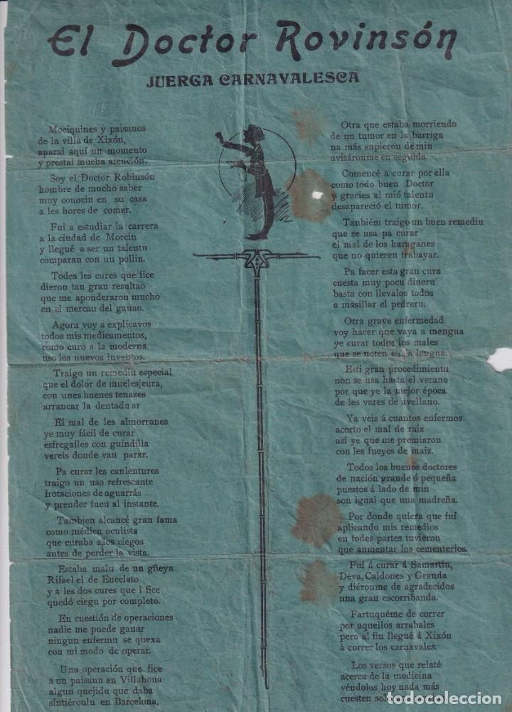 EL DOCTOR ROVINSÓN JUEGA CARNAVALESCA, ESCRITO EN ASTURIANO, BABLE 31,50 X 21 CM (Coleccionismo - Carteles Pequeño Formato)