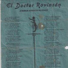 Collectionnisme d'affiches: EL DOCTOR ROVINSÓN JUEGA CARNAVALESCA, ESCRITO EN ASTURIANO, BABLE 31,50 X 21 CM. Lote 268749139