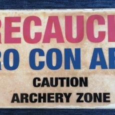 Coleccionismo de carteles: CARTEL DE CHAPA - TIRO CON ARCO - ENVIO CERTIFICADO INCLUIDO. Lote 268811679