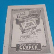Coleccionismo de carteles: PUBLICIDAD..JUEGOS REUNIDOS GEYPER...PUBLICADA EN LA REVISTA READER'S DIGEST...AÑOS 70.... Lote 268956404
