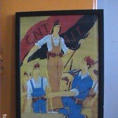 Coleccionismo de carteles: CARTEL GUERRA CIVIL ESPAÑOLA. CNT-FAI DE RICARD OBIOLS. ENMARCADO Y CON CRISTAL DE PROTECCIÓN.. Lote 269092293