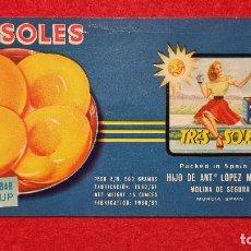 Colecionismo de cartazes: CARTEL ITO ETIQUETA PUBLICIDAD MELOCOTON TRES SOLES MOLINA DE SEGURA MURCIA ORIGINAL K9. Lote 269094933