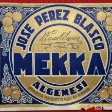 Colecionismo de cartazes: CARTEL ITO ETIQUETA NARANJAS MEKKA JOSE PEREZ BLASCO ALGEMESI VALENCIA ORIGINAL K9. Lote 269106283