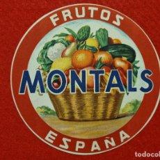 Colecionismo de cartazes: CARTEL ITO ETIQUETA NARANJAS FRUTAS MONTALS REDONDA VALENCIA ORIGINAL K9. Lote 269106768
