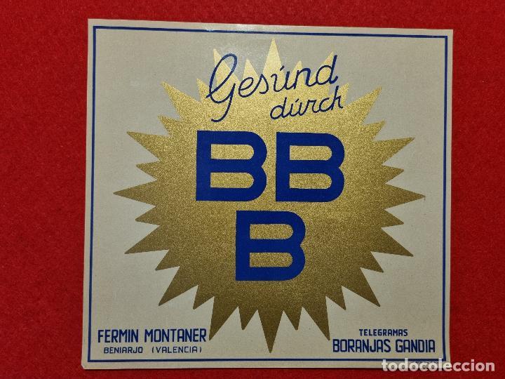 CARTEL ITO ETIQUETA NARANJAS LAS 3 B BBB FERMIN MONTANER BENIARJO GANDIA VALENCIA ORIGINAL K10 (Coleccionismo - Carteles Pequeño Formato)