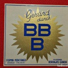 Colecionismo de cartazes: CARTEL ITO ETIQUETA NARANJAS LAS 3 B BBB FERMIN MONTANER BENIARJO GANDIA VALENCIA ORIGINAL K10. Lote 269118123