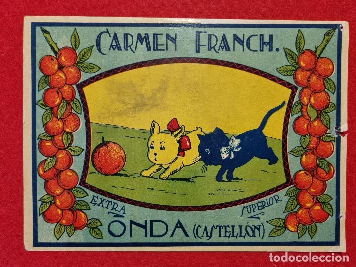CARTEL ITO ETIQUETA NARANJAS CARMEN FRANCH PERRITOS ONDA CASTELLON ORIGINAL K10 (Coleccionismo - Carteles Pequeño Formato)