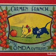 Colecionismo de cartazes: CARTEL ITO ETIQUETA NARANJAS CARMEN FRANCH PERRITOS ONDA CASTELLON ORIGINAL K10. Lote 269123253