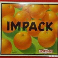 Colecionismo de cartazes: CARTEL ITO ETIQUETA NARANJAS IMPACK IMPROVER VALENCIA ORIGINAL K10. Lote 269126483