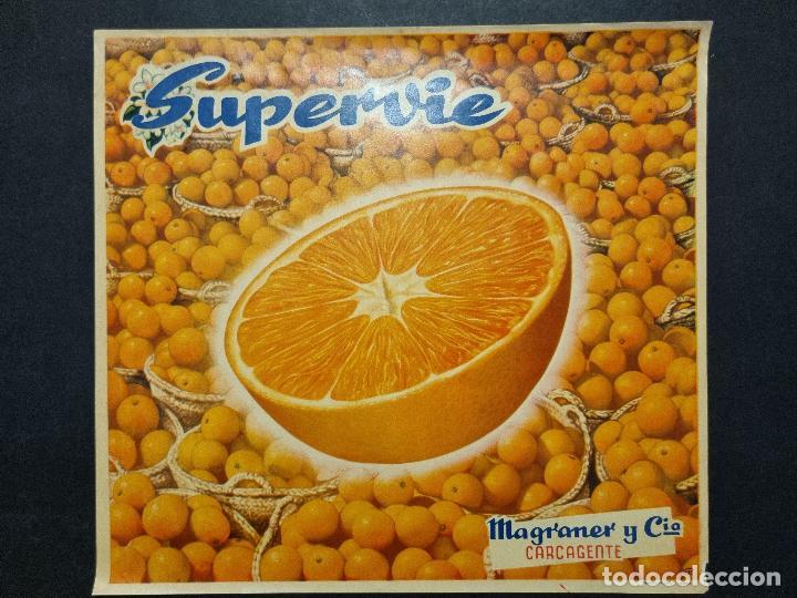 CARTEL ITO ETIQUETA NARANJAS SUPERVIE MAGRANER CARCAGENTE VALENCIA ORIGINAL K10 (Coleccionismo - Carteles Pequeño Formato)