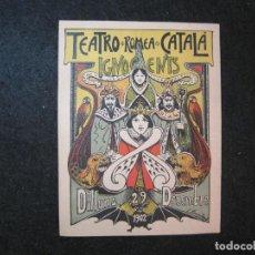 Coleccionismo de carteles: TEATRO ROMEA CATALA-INOCENTS-DILLUNS 29 DECEMBRE 1902-MINI CARTEL-VER FOTOS-(K-3281). Lote 269150258