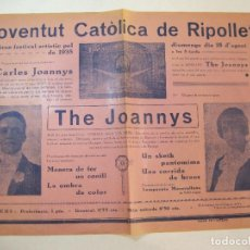 Coleccionismo de carteles: RIPOLLET-JOVENTUT CATOLICA-ANY 1935-CARLES JOANNYS-THE JOANNYS-CARTELL-VER FOTOS-(V-22.813). Lote 269159543