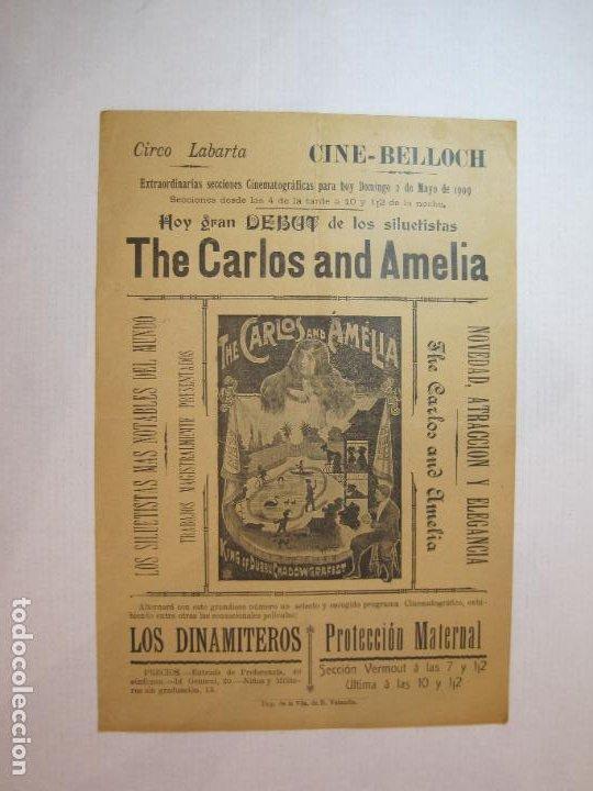 CIRCO LABARTA-CINE BELLOCH-MAYO 1909-THE CARLOS AND AMELIA-CARTEL-VER FOTOS-(V-22.814) (Coleccionismo - Carteles Pequeño Formato)