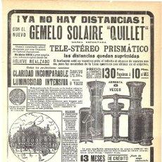 Coleccionismo de carteles: 1913 HOJA REVISTA PUBLICIDAD ANUNCIO TELE-STÉREO PRISMÁTICO GEMELO SOLAIRE 'QUILLET'. Lote 270541128