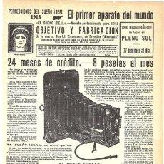 Coleccionismo de carteles: 1913 HOJA REVISTA PUBLICIDAD ANUNCIO CÁMARA FOTOGRAFICA 'EL SUEÑO IDEAL' DE HENRICH ERNEMANN. Lote 270541248