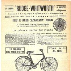 Coleccionismo de carteles: 1913 HOJA REVISTA PUBLICIDAD ANUNCIO BICICLETA CARRETERA CRESCENT DE RUDGE-WHITWORTH S. LOINAZ. Lote 270541403