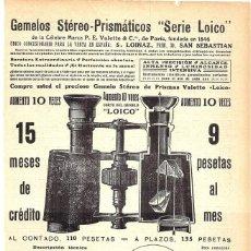Coleccionismo de carteles: 1913 HOJA REVISTA PUBLICIDAD ANUNCIO GEMELOS PRISMÁTICOS 'SERIE LOICO' MARCA P.E. VALETTE & C.. Lote 270541558