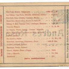 Coleccionismo de carteles: SALIDAS VAPORES PUERTO BARCELONA DICIEMBRE 1905 TRANSPORTES INTERNACIONALES MARITIMOS TERRESTRES A R. Lote 270568928
