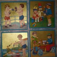 Collezionismo di affissi: CONJUNTO DE 4 ANTIGUOS CARTELES MEDIANOS, INFANTILES ( ACCIONES DE NIÑOS DE EPOCA). Lote 270644543