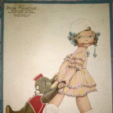 Collezionismo di affissi: LOTE DE 4 ANTIGUOS CARTELES DE PUBLICIDAD DE AU BON MARCHE, PARIS ESTILO INFANTIL.. Lote 270646198