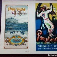 Collectionnisme d'affiches: PEQUEÑO CARTEL DÍPTICO PAMPLONA 1950 PROGRAMA DE FESTEJOS SAN FERMÍN,. Lote 273427003