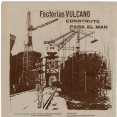 Collectionnisme d'affiches: PUBLICIDAD FACTORÍAS VULCANO.1962. Lote 274446243