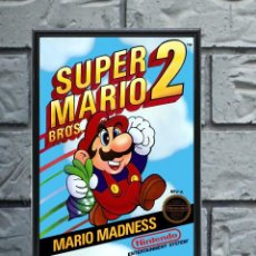 Collectionnisme d'affiches: CUADRO SUPER MARIO BROS 2 POSTER CARTEL VIDEOJUEGO NINTENDO NES ENMARCADO 30X20 CM. Lote 274531648