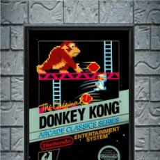 Collectionnisme d'affiches: CUADRO DONKEY KONG POSTER CARTEL VIDEOJUEGO NINTENDO NES ENMARCADO 30X20 CM. Lote 274531908