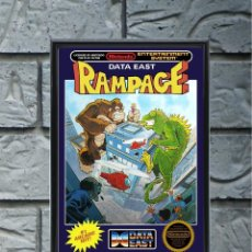 Collectionnisme d'affiches: CUADRO RAMPAGE POSTER CARTEL VIDEOJUEGO NINTENDO NES ENMARCADO 30X20 CM. Lote 274533553