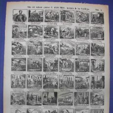 Collectionnisme d'affiches: ALELUYA AUCA - VIDA DEL VALIENTE GENERAL D. JUAN PRIM MILITAR MARQUES DE LOS CASTILLEJOS Nº 1 BOSCH. Lote 276025988