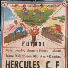 Coleccionismo de carteles: CARTEL FUTBOL HERCULES 1981. Lote 276094753