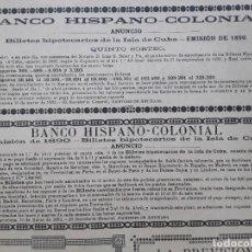 Collectionnisme d'affiches: BANCO HISPANO -COLONIAL BILLETES HIPOTECARIOS DE LA ISLA DE CUBA HOJA AÑO 1891. Lote 276136438